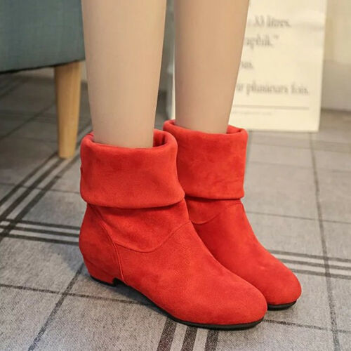 Women/'s Casual Flat Low Heel Boots Ladies Classic Ankle Shoes Stretch Suede Size