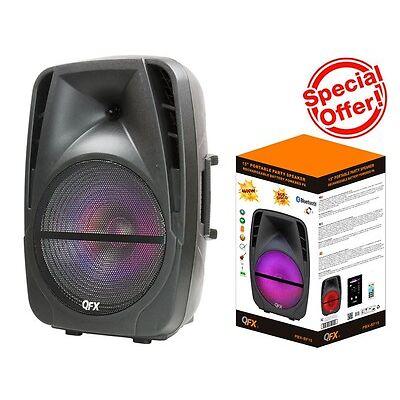 "QFX PBX-BF15 15"" Rechargeable Party Speaker +Bluetooth+USB/TF/FM+RGB Disco Light"