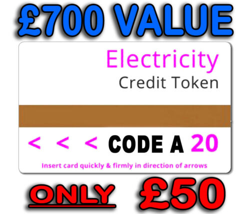 Electric Card Token Credit £700 Value £50 Security Code A Cheapest on