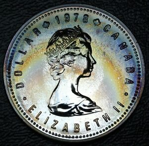 silver specimen $1 dollar coin  UNC. Edmonton Canada 1978