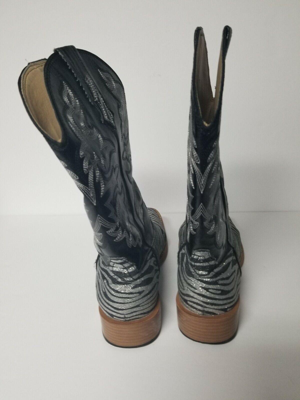 Roper Womens Size 6M Zebra Glitter Cowboy Square … - image 4