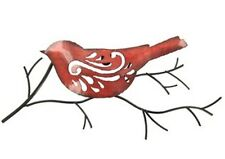15 Inches Wide Red Bird on a Twig Metal Wall Decoration
