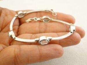 Blue-Topaz-Gemstone-925-Sterling-Silver-Bracelet