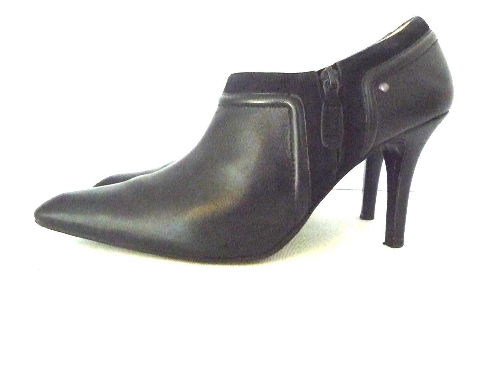 COLE HAAN Women's Black Black Black Leather Side Zipper Heel shoes Size 11 B Made in Brazil 14cbfb