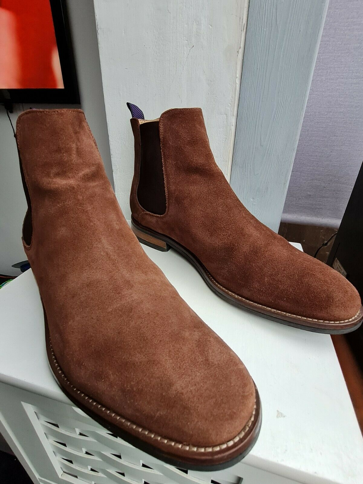 MARKS & SPENCER BROWN REAL SUEDE LEATHER CHELSEA BOOTS == UK 12 ==
