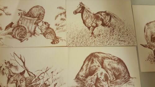 1977 Bonnie Lee Marris EARLY artwork Greeting Cards for Local Humane Society