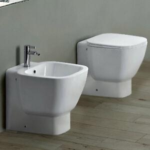 Sanitari ceramica wc con bidet monoforo e sedile bianco per arredo bagno moderno ebay - Ceramica bagno moderno ...