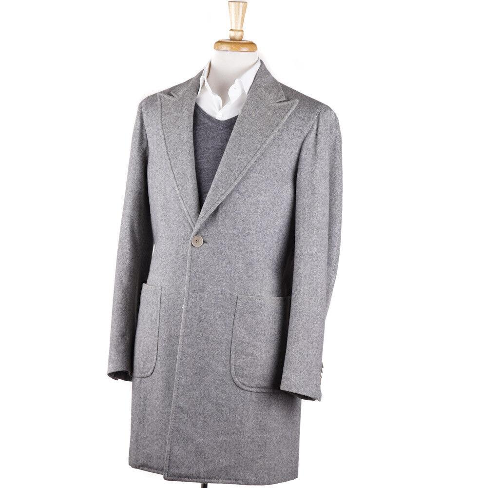 NWT 4900 EDOARDO BORRELLI NAPOLI grau Herringbone Cashmere Overcoat 40 R Coat