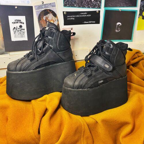7.5 38 Buffalo London Black Leather Platforms Shoe