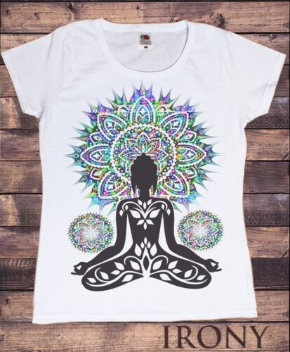 TS887 Women's White T-Shirt Aztec Yoga Top Buddha Chakra Meditation Zen Hobo