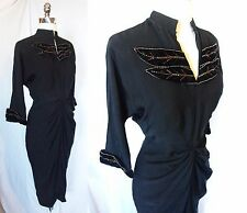 Vintage 30s 40s WWII Era Rayon Crepe Cocktail Dress Beaded Leaves Silver Screen