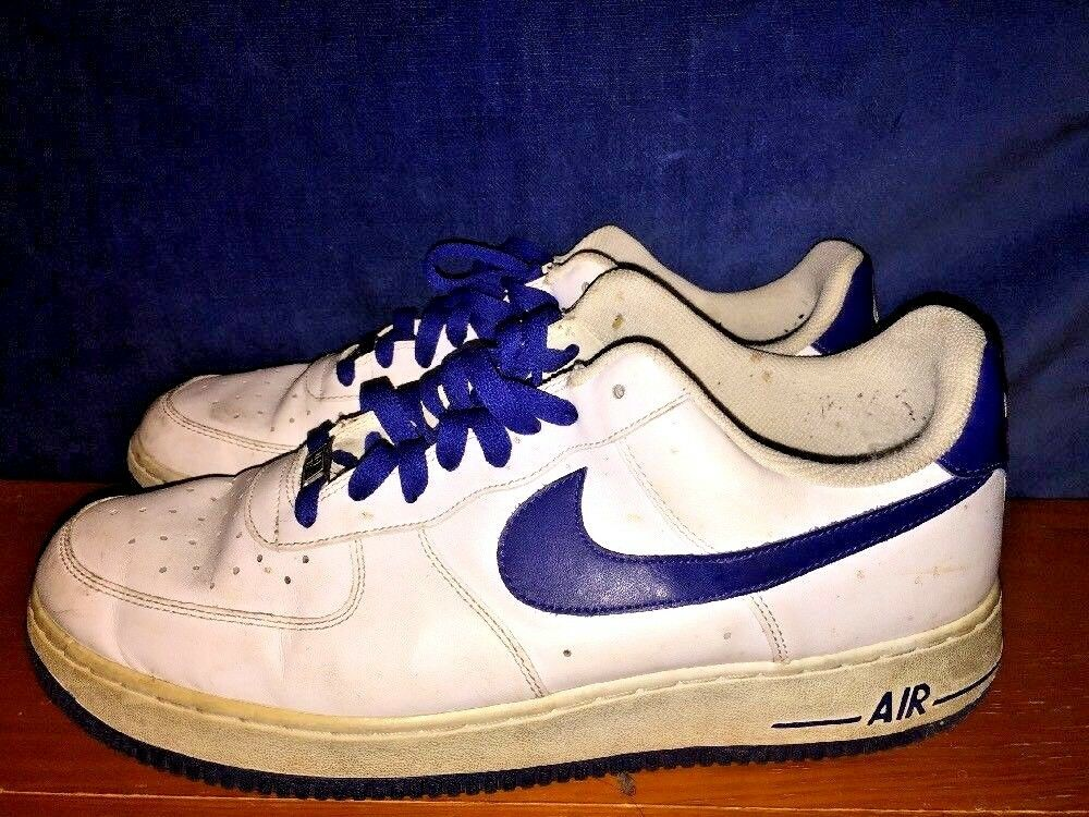 Vintage NIKE AIR FORCE 1 Cobalt blueee on White Signature LEATHER shoes Mens Sz 12