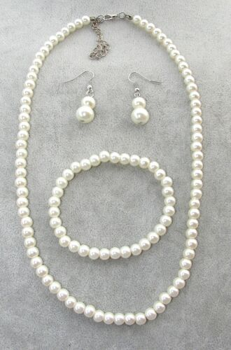 bracciale orecchini c// vetro da donna Collana girocollo in perle bianche 6mm