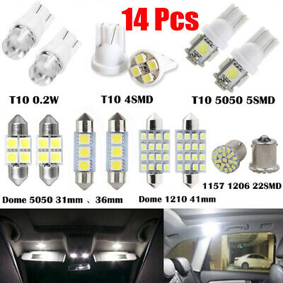 14PCS Car SUV White LED Lights Interior 1157 T10 31 36mm Map Dome License Plate