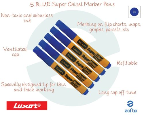 5 LUXOR 997N Super Chisel Thin Thick Tip BLUE Marker Pens Non Toxic Odourless