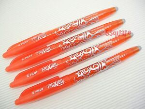 4 x Pilot FriXion 0.7mm Fine Point Erasable Rollerball Gel Ink Pen Orange