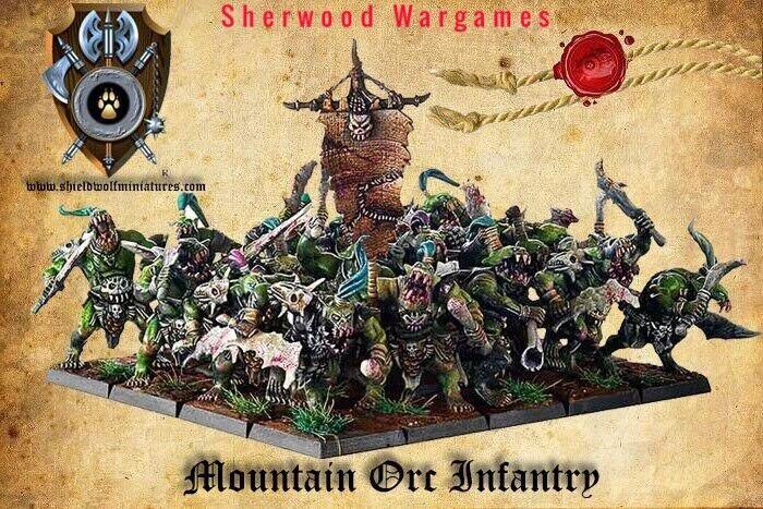 28mm Mountain Orco infantería, Reyes de Guerra, erehwon, oathmark Fantasía Nuevo Y En Caja.
