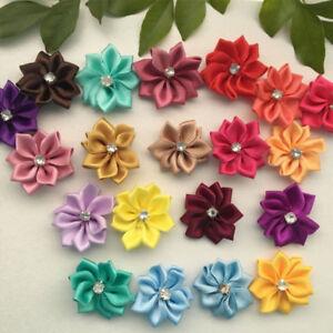 60-120PCS NEW Satin Ribbon Carnations Flowers Appliques DIY Crafts Supplies