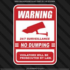 No Dumping Video Surveillance Sign Vinyl Decal Sticker Outdoor Business Garbage
