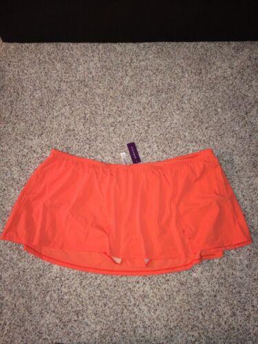 Swim By Cacique Swim Skirt Plus Size 28 Attached Brief Skort Blazing Sunset NWT