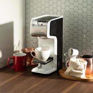 2 In 1 Single Serve Coffee Maker Brewer, Ground & K-Cup Pods, Slim Design, White