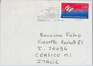 56674-SPORT-CANOA-ITALIA-STORIA-POSTALE-TIMBRO-Postale-sulla-cover-1989