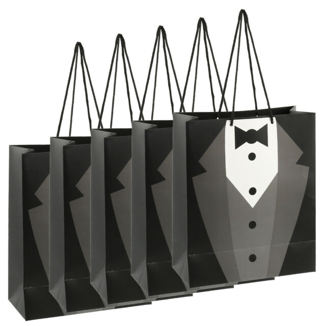 5x Paper Tuxedo Groomsmen Thank You Gift Bags Wedding Bridal Party