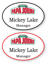 2 WHITE OVAL PAPA JOHNS PIZZA PERSONALIZED NAME BADGES MAGNETIC BACK