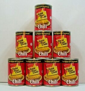 Lot-of-8-Cans-GOLD-STAR-Original-Chili-THE-FLAVOR-OF-CINCINNATI-15oz-each
