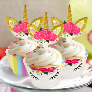 48pcs Unicorn Cupcake Toppers + Wrappers Kids Birthday Sided Cake Toppers Set
