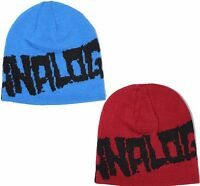 Analog The Deceit Skull Beanie In Boiler Red Or Nautical Blue Reversable