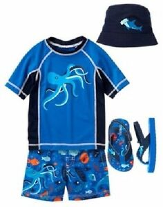 e38933869cdbbd Gymboree Octopus Swim Set Swimsuit Rash Guard Hat   Shoes Baby Boys ...