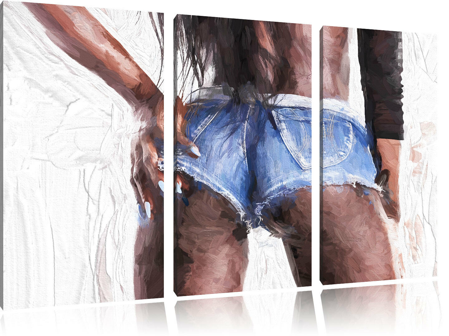 Reizvolle rassische Frau Kunst Pinsel Effekt 3-Teiler Leinwandbild Wanddeko Kuns