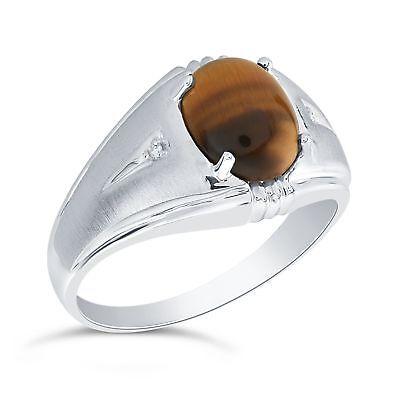 Sterling Silver 10 x 8mm Genuine Smoky Quartz /& Diamond Man/'s Ring