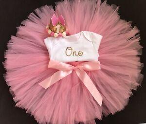 Astounding Girls 1St First Birthday Outfit Cake Smash Set Pink Tutu Birthday Personalised Birthday Cards Akebfashionlily Jamesorg