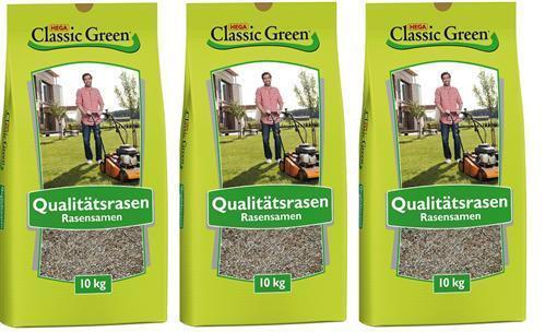 Classic Green Rasen Mischung zum Begrünen 3 x 10 kg Rasensamen