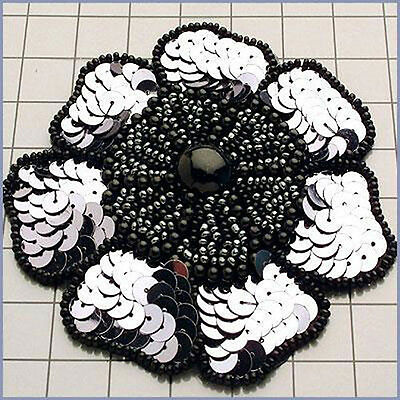 SEQUIN BEADED PEARLED FLOWER APPLIQUE 1081-F