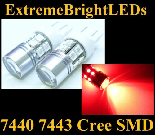 TWO Brilliant RED 7440 7443 Cree Q5 12-SMD Turn Signal Lights