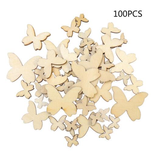 100x en Bois Pièces MDF coeurs étoiles Craft À faire soi-même Accessoires Embellissements 10-40 mm