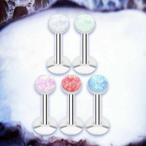 MERMAID Faux Opal Labret Studs Fake Opal Labret Piercing Steel Lip Jewellery UK