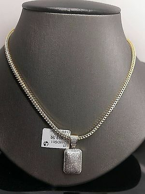bcd074e70a42d 10K Yellow Gold 0.51CT Diamond Dome Charm,Pendent With 20 inch Franco Chain    eBay