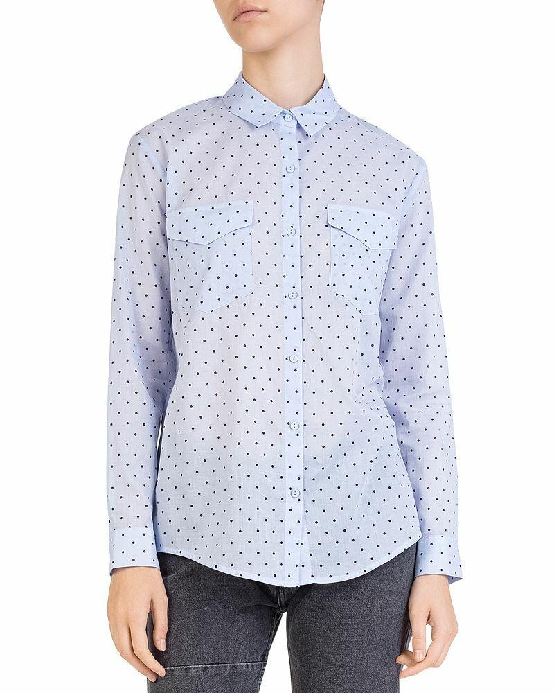 The Kooples Polka Dot Button-Down Cotton Shirt Blau Ladies UK Größe XS