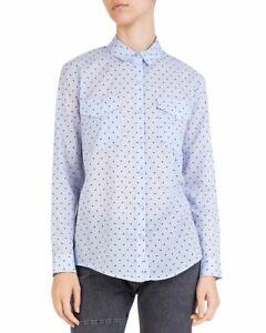 The-Kooples-Polka-Dot-Button-Down-Cotton-Shirt-Blue-Ladies-UK-Size-XS