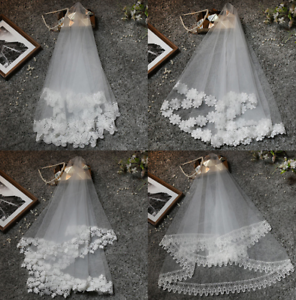 Short Wedding Veils White Bridal Accessories 1.5M Lace Tulle Elbow Length Bride