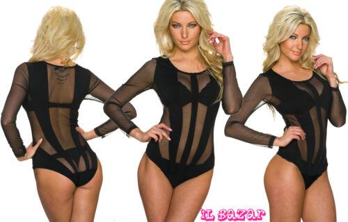 sexissimo body-shirt nero in tulle e tessuto elasticizzato tg S,M,L