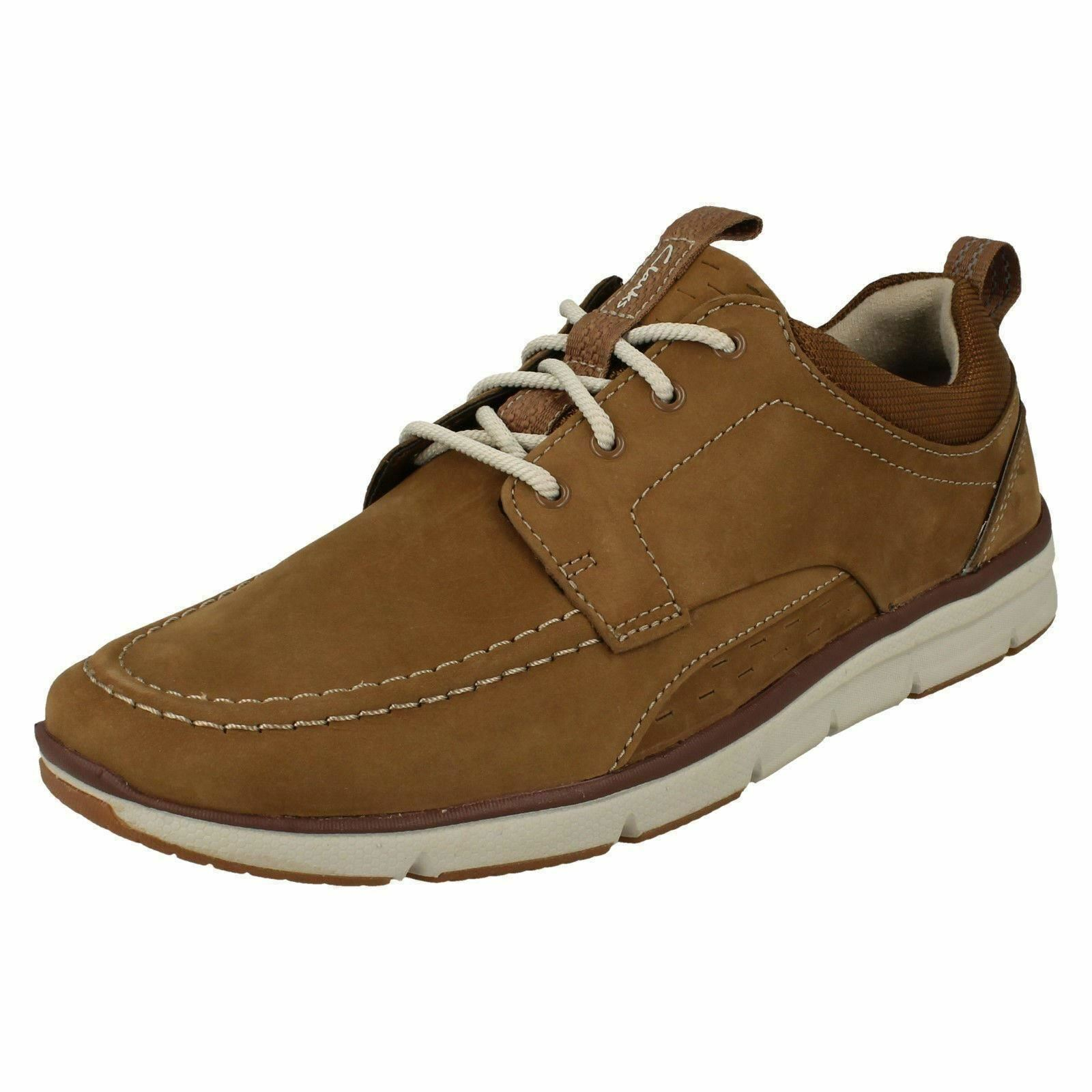 Mens Clarks Orson Bay Tan Nubuck Leather Casual Lace Up shoes - G Fitting