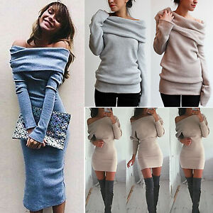 Womens-Off-the-Shoulder-Knit-Sweater-Bodycon-Dress-Party-Winter-Evening