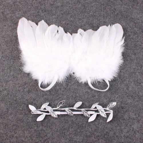 Newborn Baby White Angel Wings Headband Costume Photo Photography Props  Pip