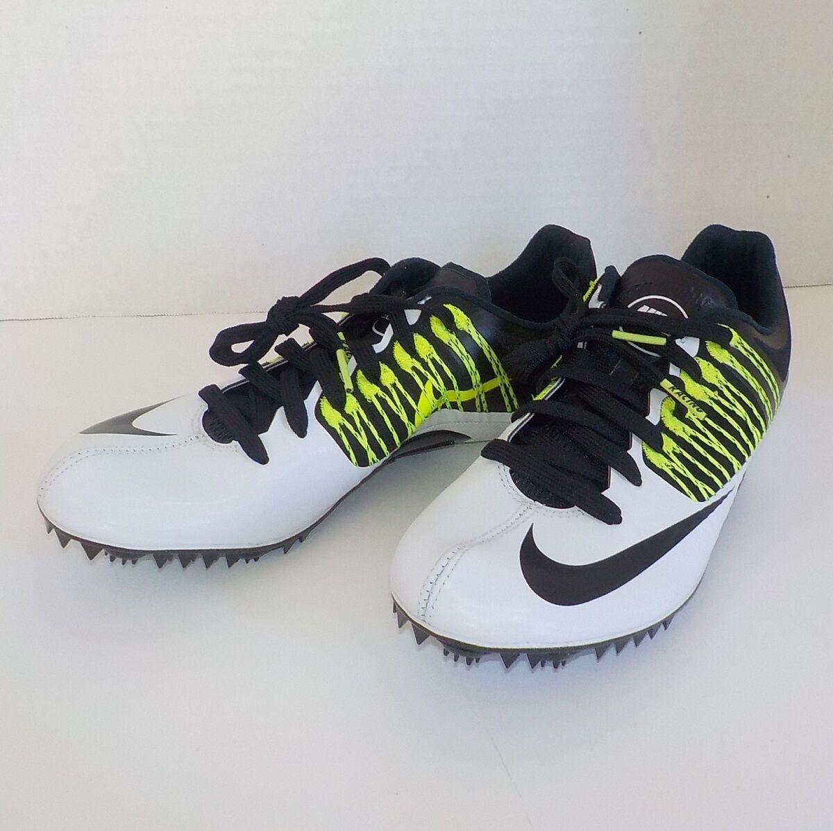 Nike Celar V Sprint shoes BLACK WHITE 629226 107 MEN SIZE 11.5 +Spikes+SRT+Bag