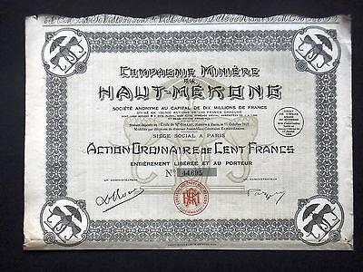 French 100 Francs bond Mining Corporati of Mexico 1923 Corp Miniere du Mexique